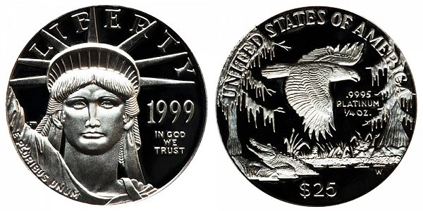 1999 W Proof Quarter Ounce American Platinum Eagle - 1/4 oz Platinum $25