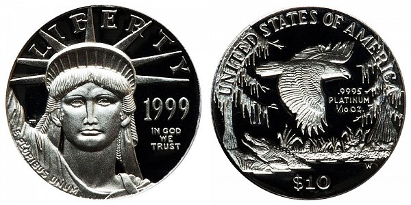 1999 W Proof Tenth Ounce American Platinum Eagle - 1/10 oz Platinum $10