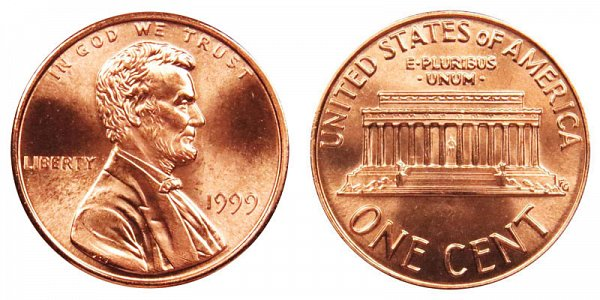 1999 Wide AM Lincoln Memorial Cent Penny