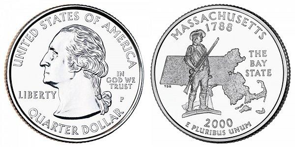 2000 P Massachusetts State Quarter