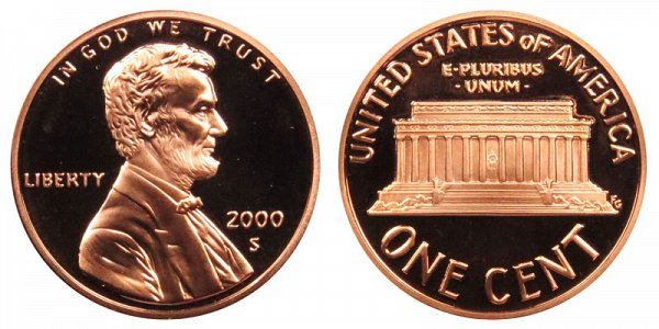2000 S Lincoln Memorial Cent Penny Proof