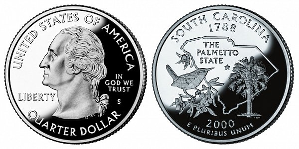 2000 S Silver Proof South Carolina State Quarter