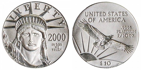 2000 Tenth Ounce American Platinum Eagle - 1/10 oz Platinum $10