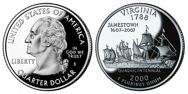 2000 S Silver Proof Virgnia State Quarter