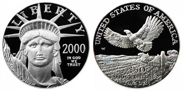 2000 W Proof Half Ounce American Platinum Eagle - 1/2 oz Platinum $50