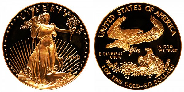 2000 W Proof One Ounce American Gold Eagle - 1 oz Gold $50