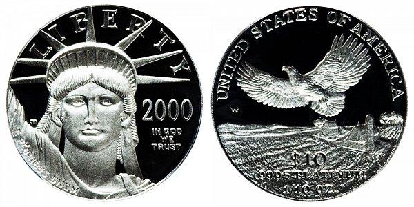 2000 W Proof Tenth Ounce American Platinum Eagle - 1/10 oz Platinum $10