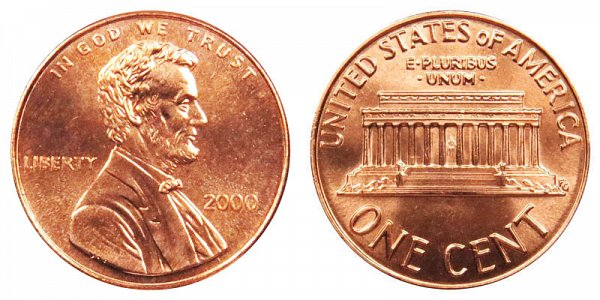 2000 Wide AM Lincoln Memorial Cent Penny