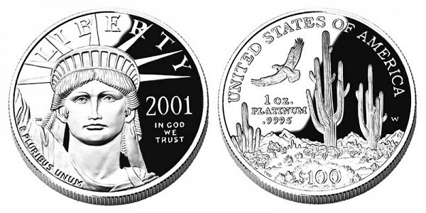 2001 W American Platinum Eagle Bullion Coin Proof 100 One Ounce Platinum Coin Value Prices