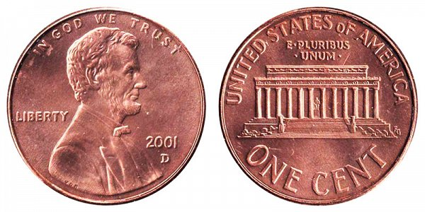 2001 D Lincoln Memorial Cent Penny