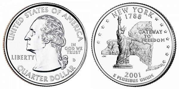 2001 D New York State Quarter
