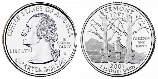 2001 D Vermont State Quarter