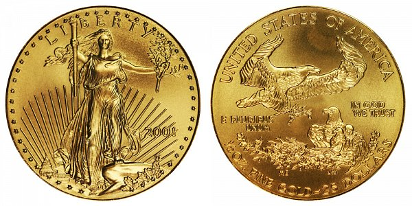 2001 Half Ounce American Gold Eagle - 1/2 oz Gold $25