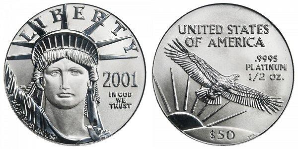 2001 Half Ounce American Platinum Eagle - 1/2 oz Platinum $50
