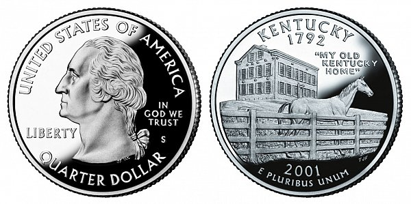 2001 S Silver Proof Kentucky State Quarter