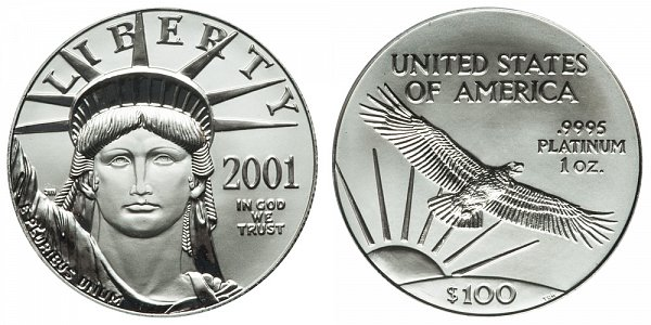2001 One Ounce American Platinum Eagle - 1 oz Platinum $100