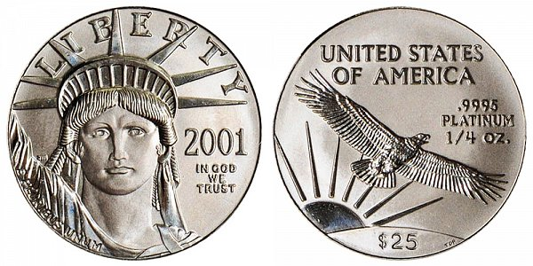 2001 Quarter Ounce American Platinum Eagle - 1/4 oz Platinum $25