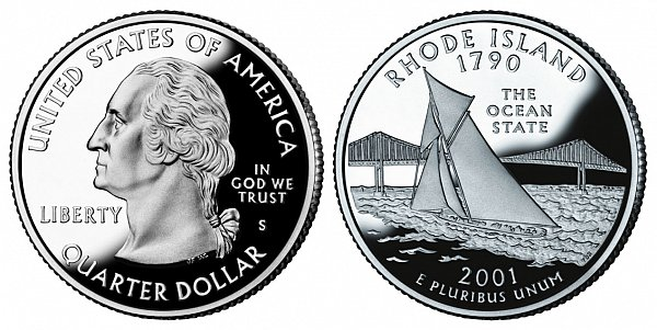 2001 S Proof Rhode Island State Quarter