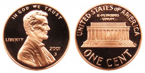 2001 S Lincoln Memorial Cent Penny Proof