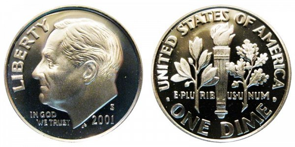 2001 S Silver Roosevelt Dime Proof