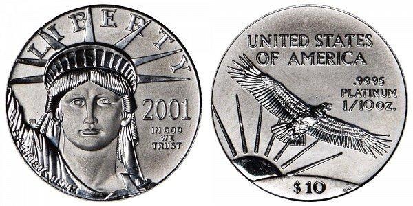 2001 Tenth Ounce American Platinum Eagle - 1/10 oz Platinum $10