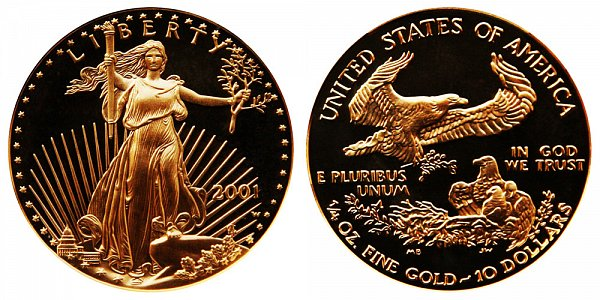 2001 W Proof Quarter Ounce American Gold Eagle - 1/4 oz Gold $10