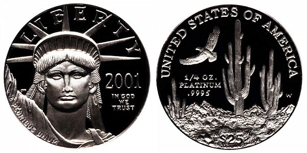 2001 W Proof Quarter Ounce American Platinum Eagle - 1/4 oz Platinum $25