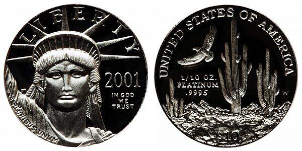 2001 W Proof Tenth Ounce American Platinum Eagle - 1/10 oz Platinum $10