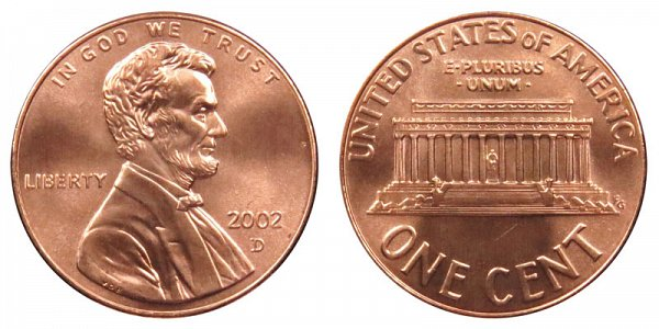 2002 D Lincoln Memorial Cent Penny