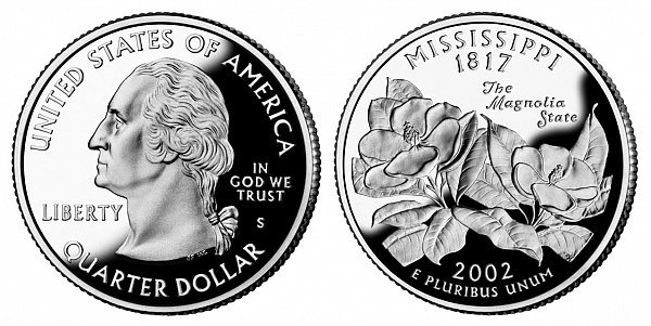 2002 S Proof Mississippi State Quarter