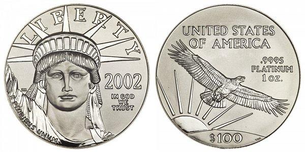 2002 One Ounce American Platinum Eagle - 1 oz Platinum $100