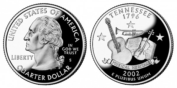 2002 S Silver Proof Tennessee State Quarter
