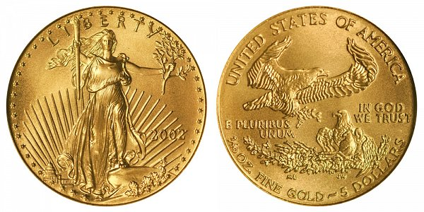 2002 Tenth Ounce American Gold Eagle - 1/10 oz Gold $5