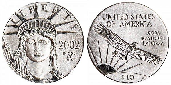 2002 Tenth Ounce American Platinum Eagle - 1/10 oz Platinum $10