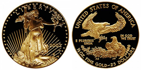 2002 W Proof Half Ounce American Gold Eagle - 1/2 oz Gold $25