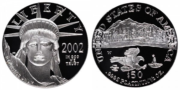 2002 W Proof Half Ounce American Platinum Eagle - 1/2 oz Platinum $50