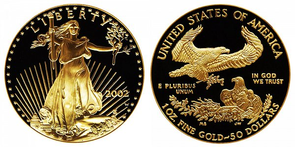 2002 W Proof One Ounce American Gold Eagle - 1 oz Gold $50