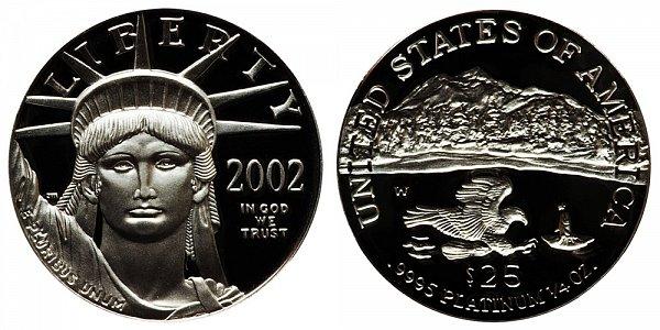 2002 W Proof Quarter Ounce American Platinum Eagle - 1/4 oz Platinum $25