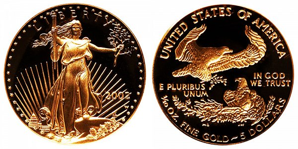 2002 W Proof Tenth Ounce American Gold Eagle - 1/10 oz Gold $5
