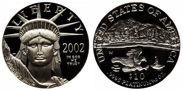2002 W Proof Tenth Ounce American Platinum Eagle - 1/10 oz Platinum $10
