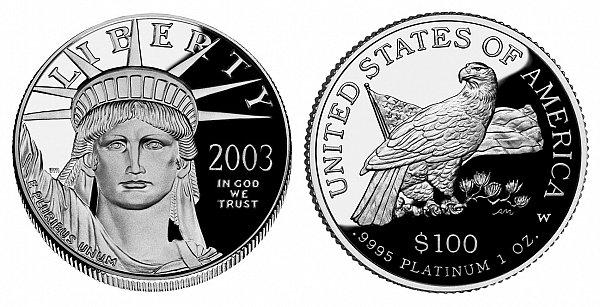 2003 W Proof One Ounce American Platinum Eagle - 1 oz Platinum $100