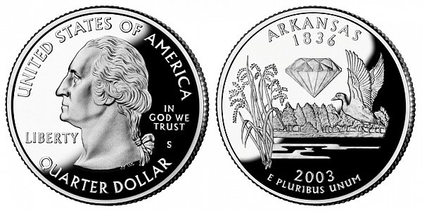 2003 S Silver Proof Arkansas State Quarter