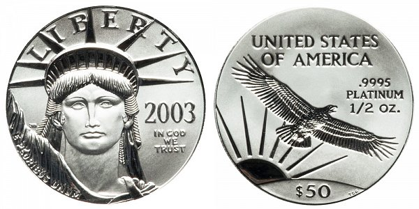 2003 Half Ounce American Platinum Eagle - 1/2 oz Platinum $50