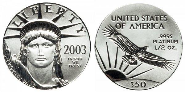2003 Half Ounce American Platinum Eagle - 1/2 oz Platinum $50