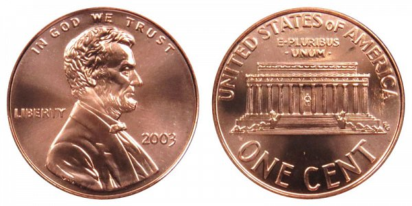 2003 Lincoln Memorial Cent Penny