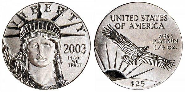 2003 Quarter Ounce American Platinum Eagle - 1/4 oz Platinum $25