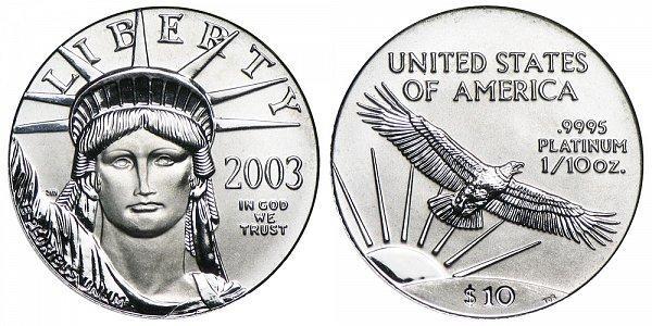 2003 Tenth Ounce American Platinum Eagle - 1/10 oz Platinum $10
