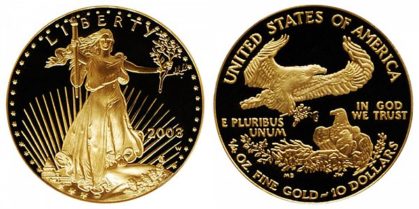 2003 W Proof Quarter Ounce American Gold Eagle - 1/4 oz Gold $10