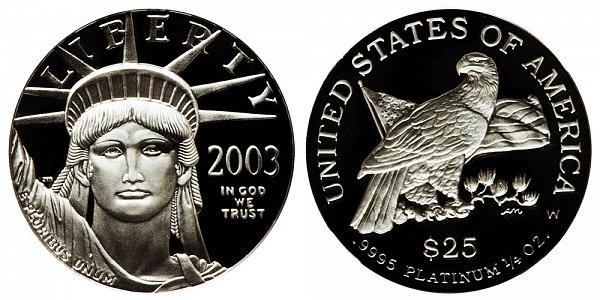 2003 W Proof Quarter Ounce American Platinum Eagle - 1/4 oz Platinum $25