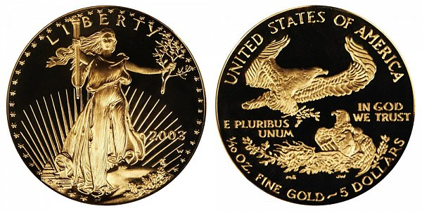 2003 W Proof Tenth Ounce American Gold Eagle - 1/10 oz Gold $5